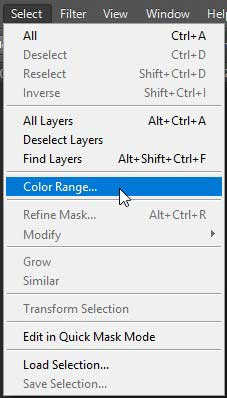 Color Range Menu