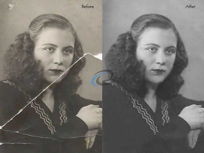 Photo restoration service before and after black white