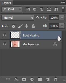 Spot healing brush tool on new layer